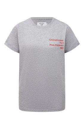 Женская хлопковая футболка SEVEN LAB серого цвета, арт. T20-CYPN grey | Фото 1