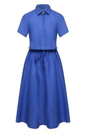 Женское платье из хлопка и льна KITON синего цвета, арт. D51339H07724 | Фото 1