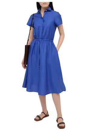 Женское платье из хлопка и льна KITON синего цвета, арт. D51339H07724 | Фото 2