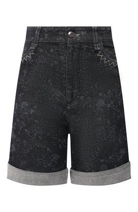 Женские джинсовые шорты CHLOÉ темно-серого цвета, арт. CHC21SDS01157 | Фото 1 (Материал внешний: Хлопок, Деним; Принт: С принтом; Кросс-КТ: Деним; Стили: Кэжуэл; Женское Кросс-КТ: Шорты-одежда; Длина Ж (юбки, платья, шорты): До колена)