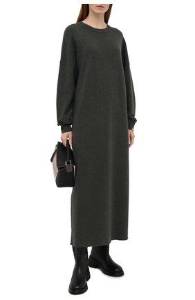 Женское кашемировое платье EXTREME CASHMERE темно-зеленого цвета, арт. 106/WEIRD | Фото 2