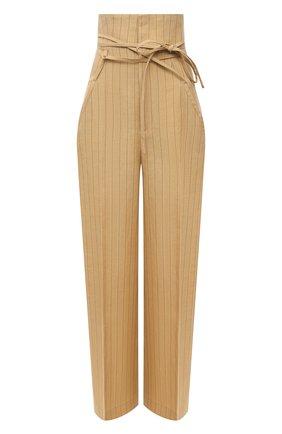 Женские льняные брюки JACQUEMUS бежевого цвета, арт. 211PA05/112851   Фото 1