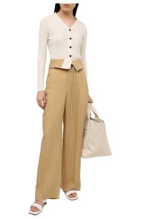 Женские льняные брюки JACQUEMUS бежевого цвета, арт. 211PA05/112851   Фото 2
