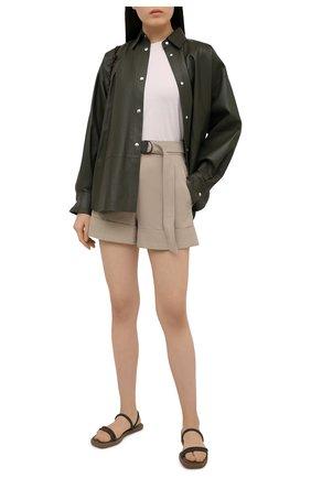 Женские хлопковые шорты BRUNELLO CUCINELLI бежевого цвета, арт. MH175P7234 | Фото 2