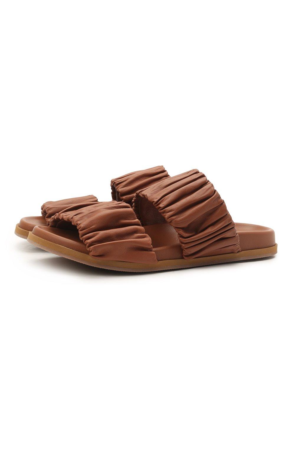 Женские кожаные шлепанцы SANTONI светло-коричневого цвета, арт. WHYE59411FPGTPPTC31   Фото 1