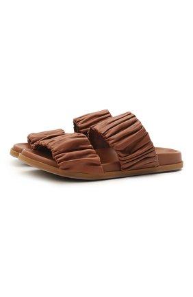 Женские кожаные шлепанцы SANTONI светло-коричневого цвета, арт. WHYE59411FPGTPPTC31 | Фото 1