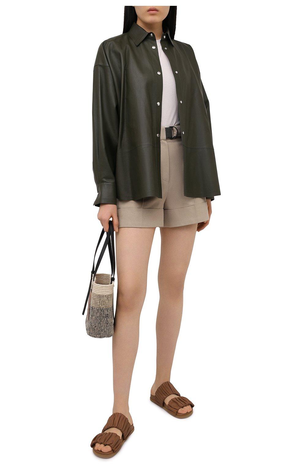 Женские кожаные шлепанцы SANTONI светло-коричневого цвета, арт. WHYE59411FPGTPPTC31   Фото 2