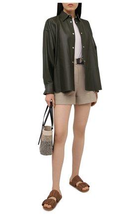 Женские кожаные шлепанцы SANTONI светло-коричневого цвета, арт. WHYE59411FPGTPPTC31 | Фото 2