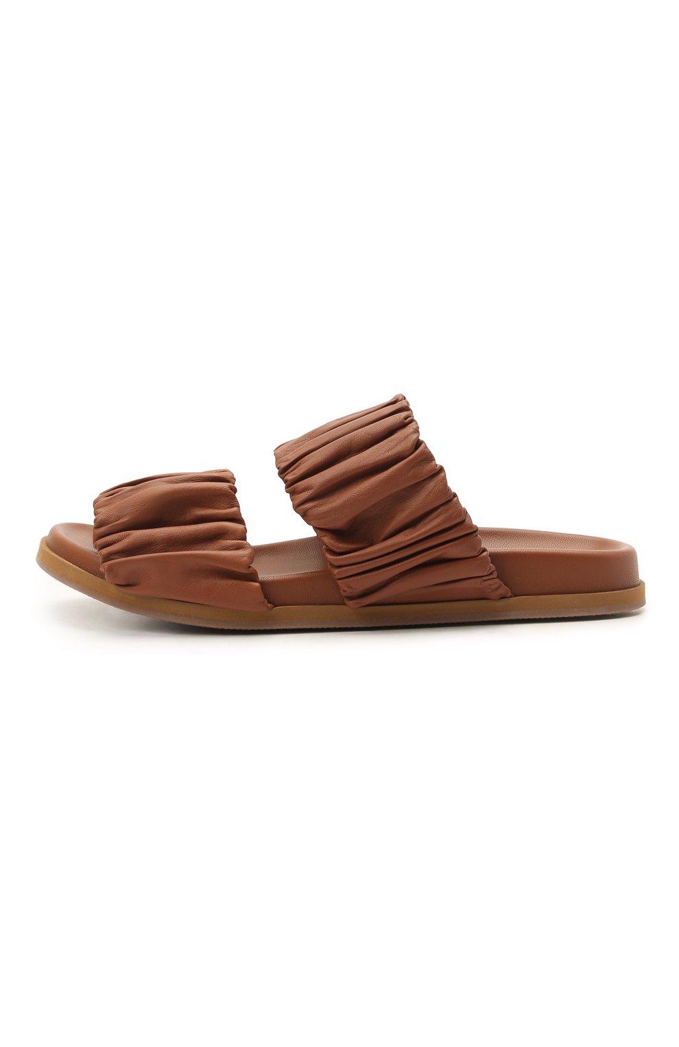 Женские кожаные шлепанцы SANTONI светло-коричневого цвета, арт. WHYE59411FPGTPPTC31   Фото 3