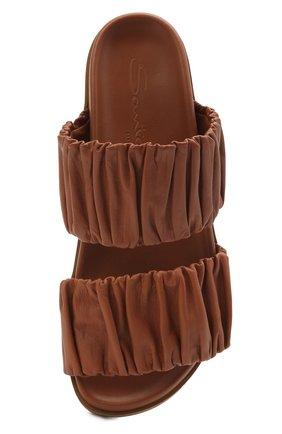 Женские кожаные шлепанцы SANTONI светло-коричневого цвета, арт. WHYE59411FPGTPPTC31   Фото 5