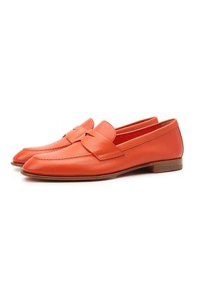 Женские кожаные пенни-лоферы SANTONI оранжевого цвета, арт. WUSF57616HAFSLGAA50 | Фото 1