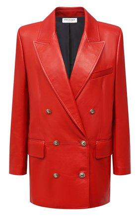 Женский кожаный жакет SAINT LAURENT красного цвета, арт. 648330/Y50A2 | Фото 1