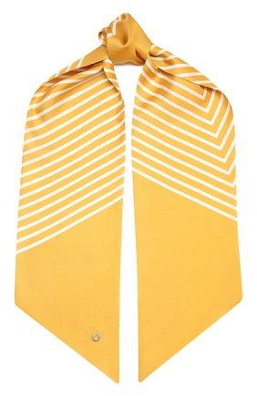 Женский шелковый платок LORO PIANA желтого цвета, арт. FAL5509   Фото 1 (Материал: Текстиль, Шелк; Принт: С принтом)