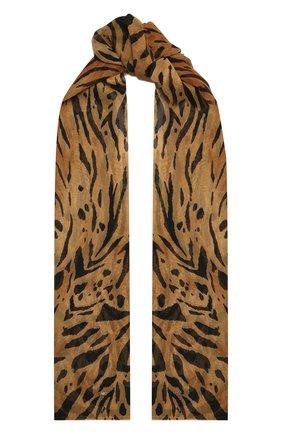 Женский шелковый шарф SAINT LAURENT леопардового цвета, арт. 648979/3Y035 | Фото 1