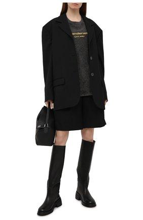 Женская хлопковая футболка DENIM X ALEXANDER WANG темно-серого цвета, арт. UCC1211030   Фото 2