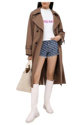 Женские джинсовые шорты DENIM X ALEXANDER WANG синего цвета, арт. 4DC1214897 | Фото 2 (Материал внешний: Хлопок; Стили: Спорт-шик; Женское Кросс-КТ: Шорты-одежда; Длина Ж (юбки, платья, шорты): Мини; Принт: С принтом; Кросс-КТ: Деним)