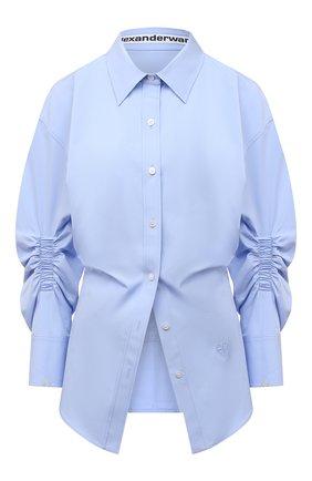 Женская хлопковая рубашка ALEXANDER WANG голубого цвета, арт. 1WC2201376   Фото 1