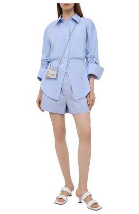Женская хлопковая рубашка ALEXANDER WANG голубого цвета, арт. 1WC2201376   Фото 2