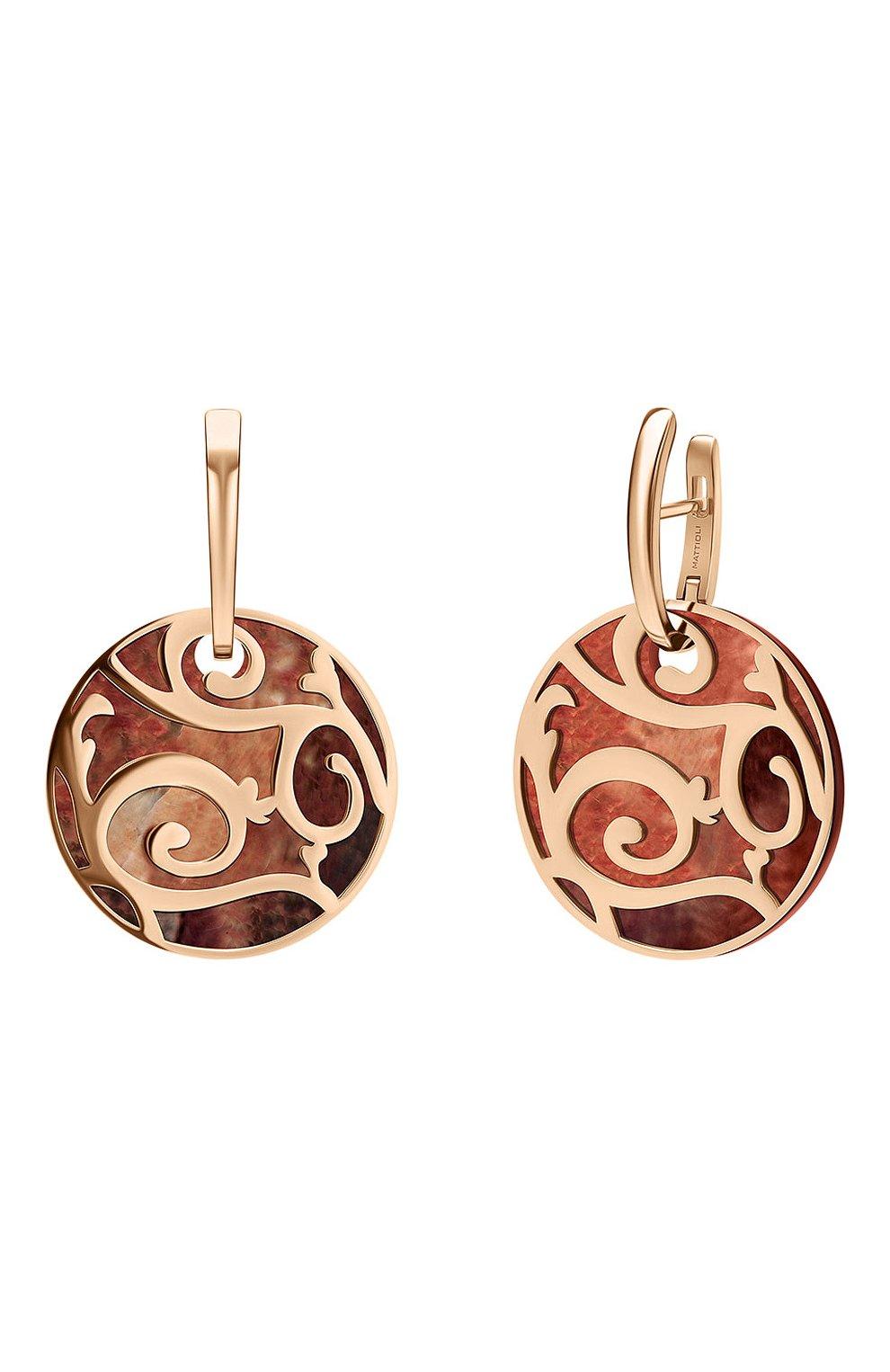 Женские серьги MATTIOLI бесцветного цвета, арт. MOR083R005 | Фото 2 (Драгоценные камни: Другие; Материал сплава: Розовое золото)