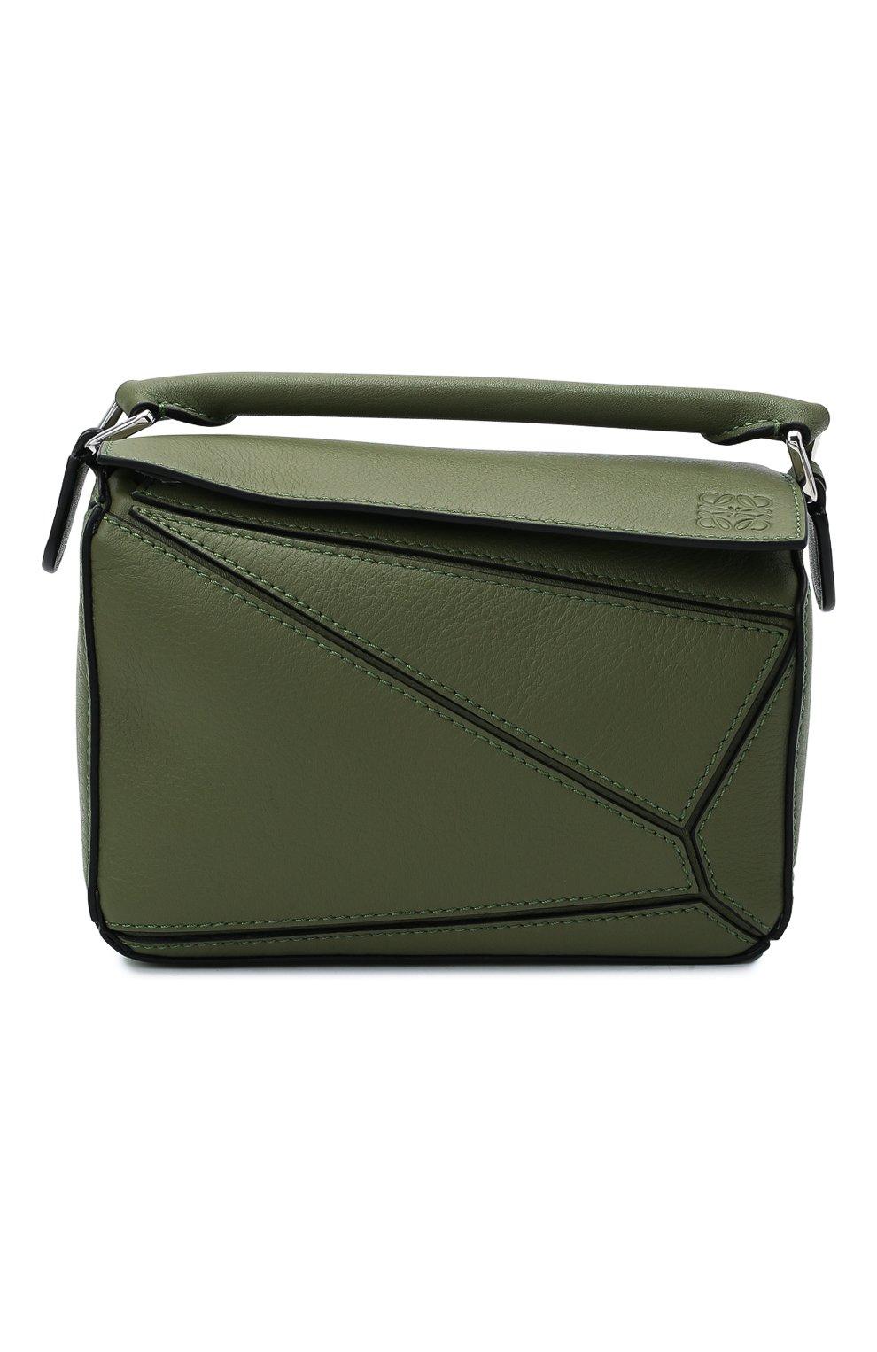 Женская сумка puzzle mini LOEWE зеленого цвета, арт. 322.30.U95   Фото 1 (Сумки-технические: Сумки через плечо, Сумки top-handle; Материал: Натуральная кожа; Размер: mini; Ремень/цепочка: На ремешке)