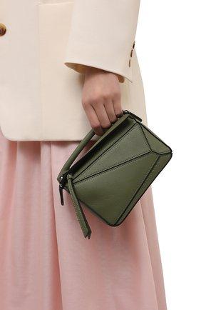 Женская сумка puzzle mini LOEWE зеленого цвета, арт. 322.30.U95   Фото 2 (Сумки-технические: Сумки через плечо, Сумки top-handle; Материал: Натуральная кожа; Размер: mini; Ремень/цепочка: На ремешке)