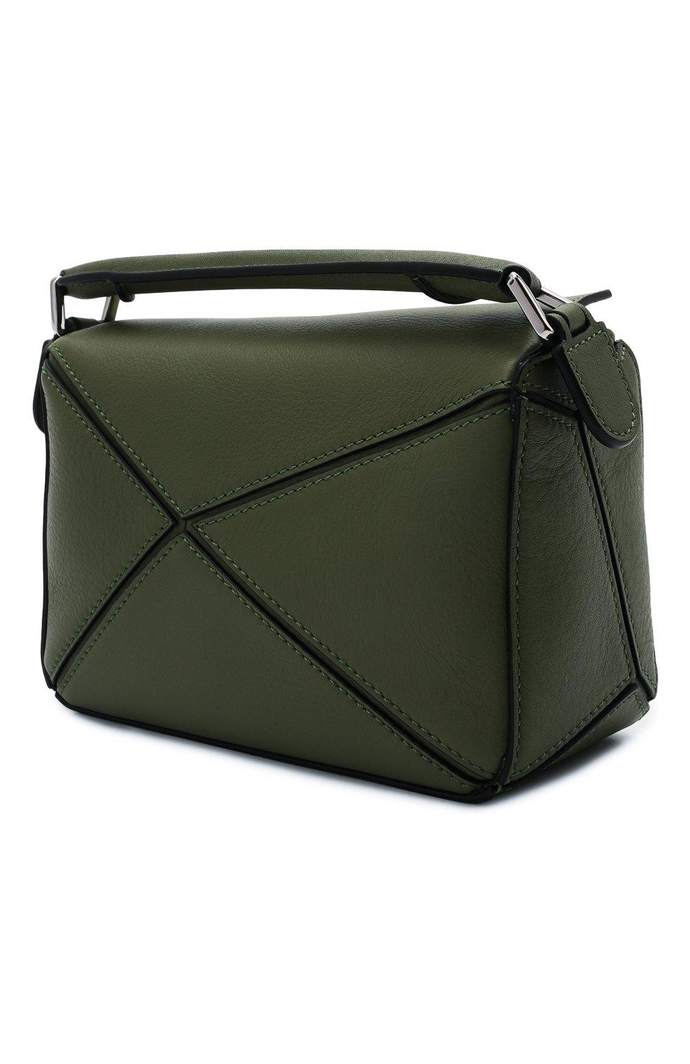 Женская сумка puzzle mini LOEWE зеленого цвета, арт. 322.30.U95   Фото 3 (Сумки-технические: Сумки через плечо, Сумки top-handle; Материал: Натуральная кожа; Размер: mini; Ремень/цепочка: На ремешке)