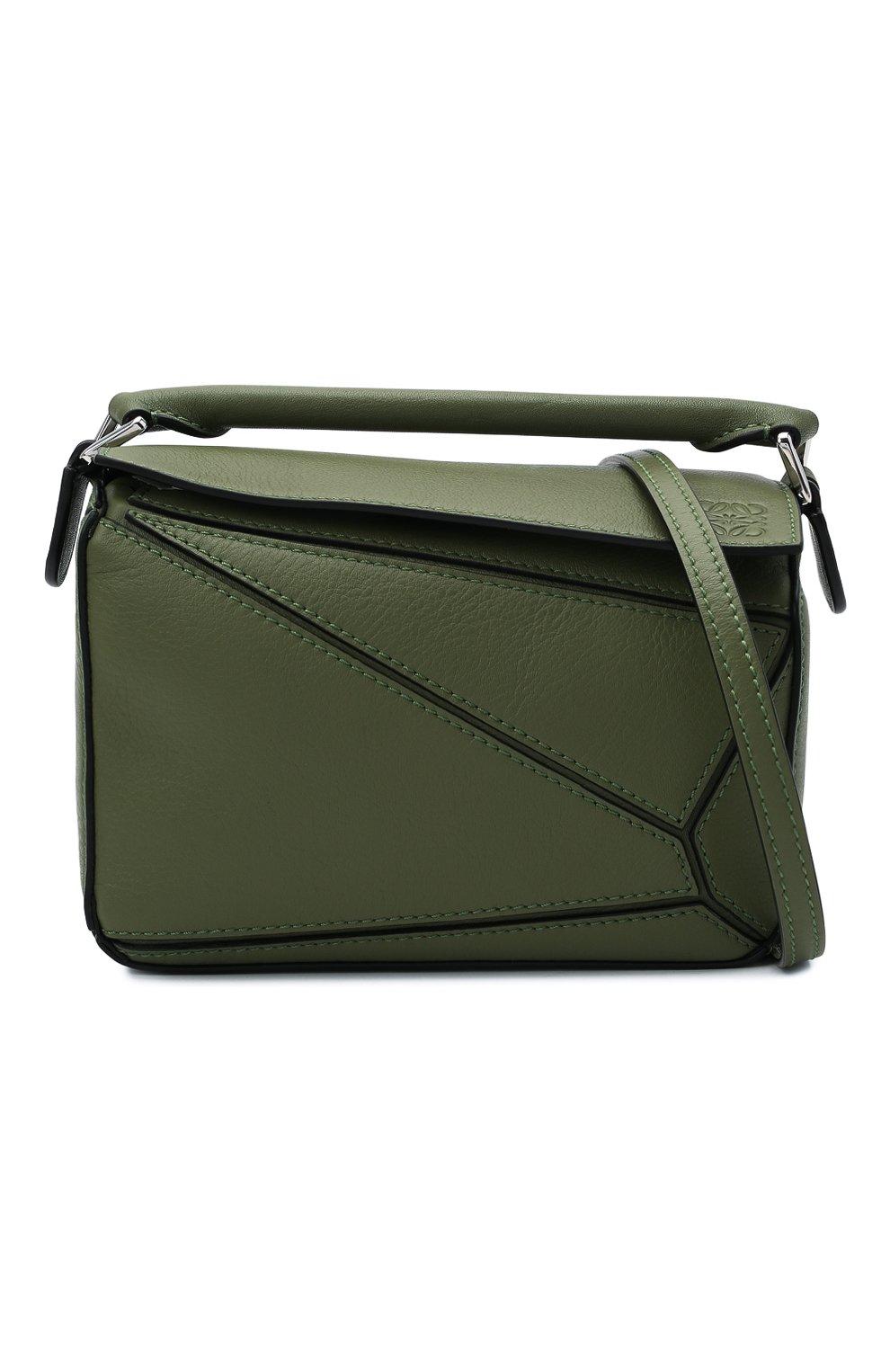 Женская сумка puzzle mini LOEWE зеленого цвета, арт. 322.30.U95   Фото 6 (Сумки-технические: Сумки через плечо, Сумки top-handle; Материал: Натуральная кожа; Размер: mini; Ремень/цепочка: На ремешке)
