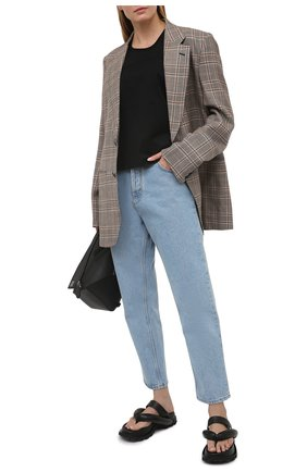 Женская хлопковая футболка LOEWE черного цвета, арт. S359341XA4 | Фото 2
