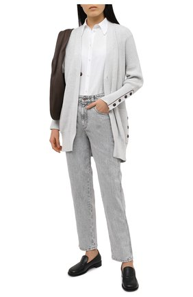 Женский хлопковый кардиган BRUNELLO CUCINELLI светло-серого цвета, арт. M19750506 | Фото 2