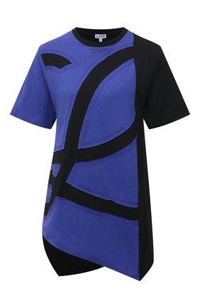 Женская хлопковая футболка LOEWE синего цвета, арт. S540Y22J01 | Фото 1
