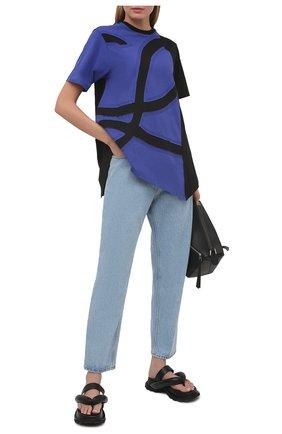 Женская хлопковая футболка LOEWE синего цвета, арт. S540Y22J01 | Фото 2