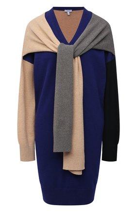 Женское шерстяное платье LOEWE темно-синего цвета, арт. S540Y15K24 | Фото 1