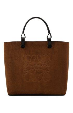 Женский сумка-тоут anagram LOEWE коричневого цвета, арт. A657T23X06   Фото 1 (Размер: medium; Материал: Натуральная кожа; Сумки-технические: Сумки-шопперы)