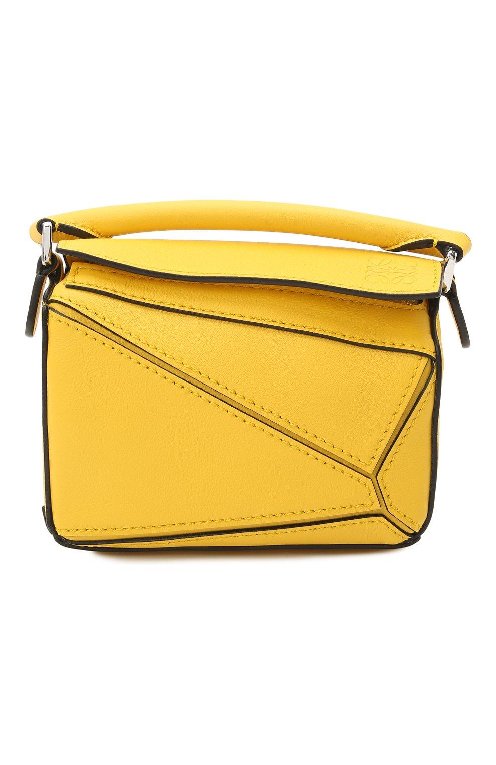 Женская сумка puzzle nano LOEWE желтого цвета, арт. A510U98X01 | Фото 1 (Ремень/цепочка: С цепочкой, На ремешке; Сумки-технические: Сумки top-handle; Материал: Натуральная кожа; Размер: mini)