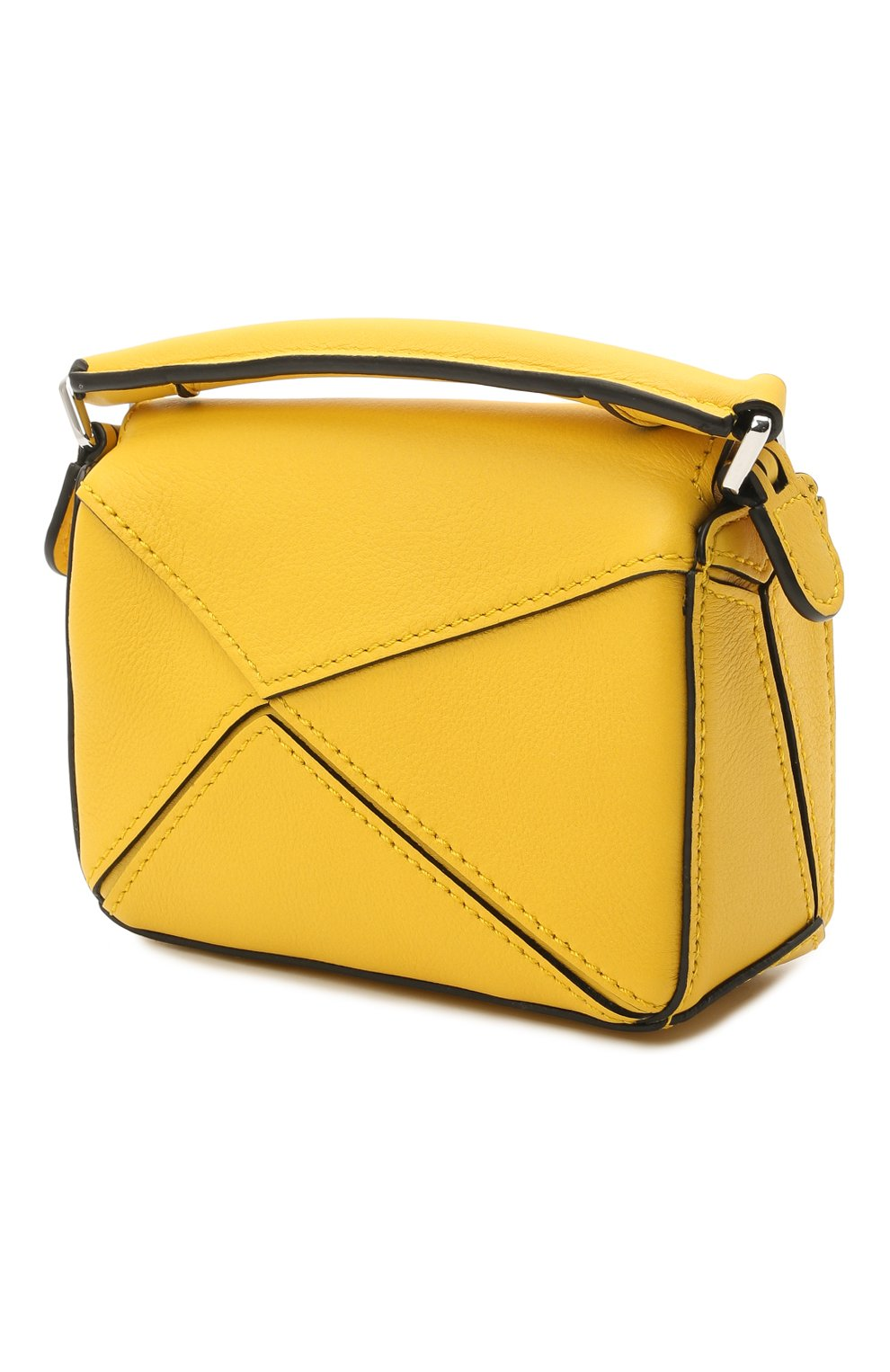 Женская сумка puzzle nano LOEWE желтого цвета, арт. A510U98X01 | Фото 3 (Ремень/цепочка: С цепочкой, На ремешке; Сумки-технические: Сумки top-handle; Материал: Натуральная кожа; Размер: mini)