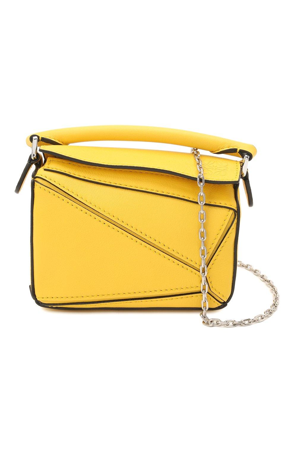 Женская сумка puzzle nano LOEWE желтого цвета, арт. A510U98X01 | Фото 6 (Ремень/цепочка: С цепочкой, На ремешке; Сумки-технические: Сумки top-handle; Материал: Натуральная кожа; Размер: mini)