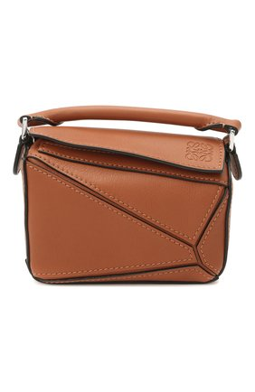 Женская сумка puzzle nano LOEWE коричневого цвета, арт. A510U98X01   Фото 1 (Размер: mini; Материал: Натуральная кожа; Сумки-технические: Сумки через плечо, Сумки top-handle; Ремень/цепочка: С цепочкой, На ремешке)