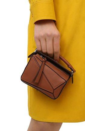 Женская сумка puzzle nano LOEWE коричневого цвета, арт. A510U98X01 | Фото 2