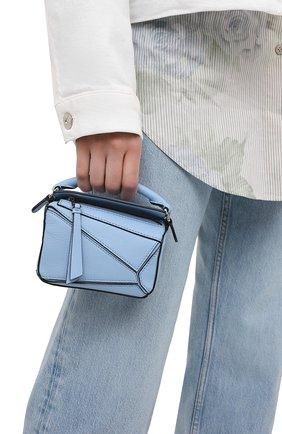 Женская сумка puzzle nano LOEWE голубого цвета, арт. A510U98X01 | Фото 2