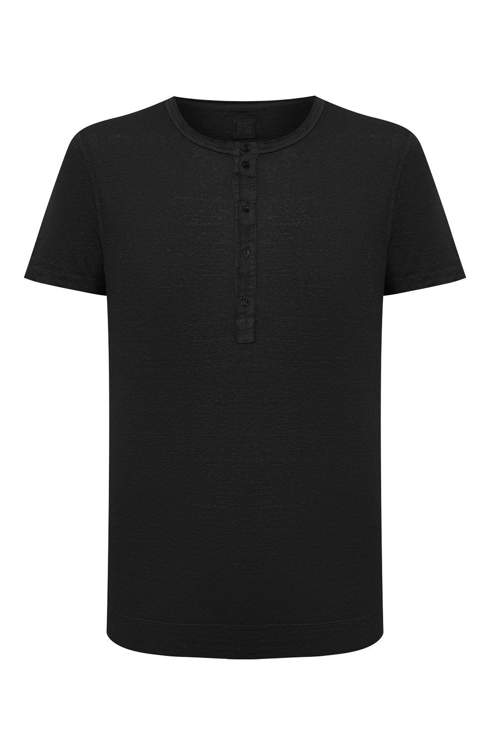 Мужская льняная футболка 120% LINO черного цвета, арт. T0M7672/E908/S00   Фото 1 (Принт: Без принта; Рукава: Короткие; Длина (для топов): Стандартные; Материал внешний: Лен; Стили: Кэжуэл)