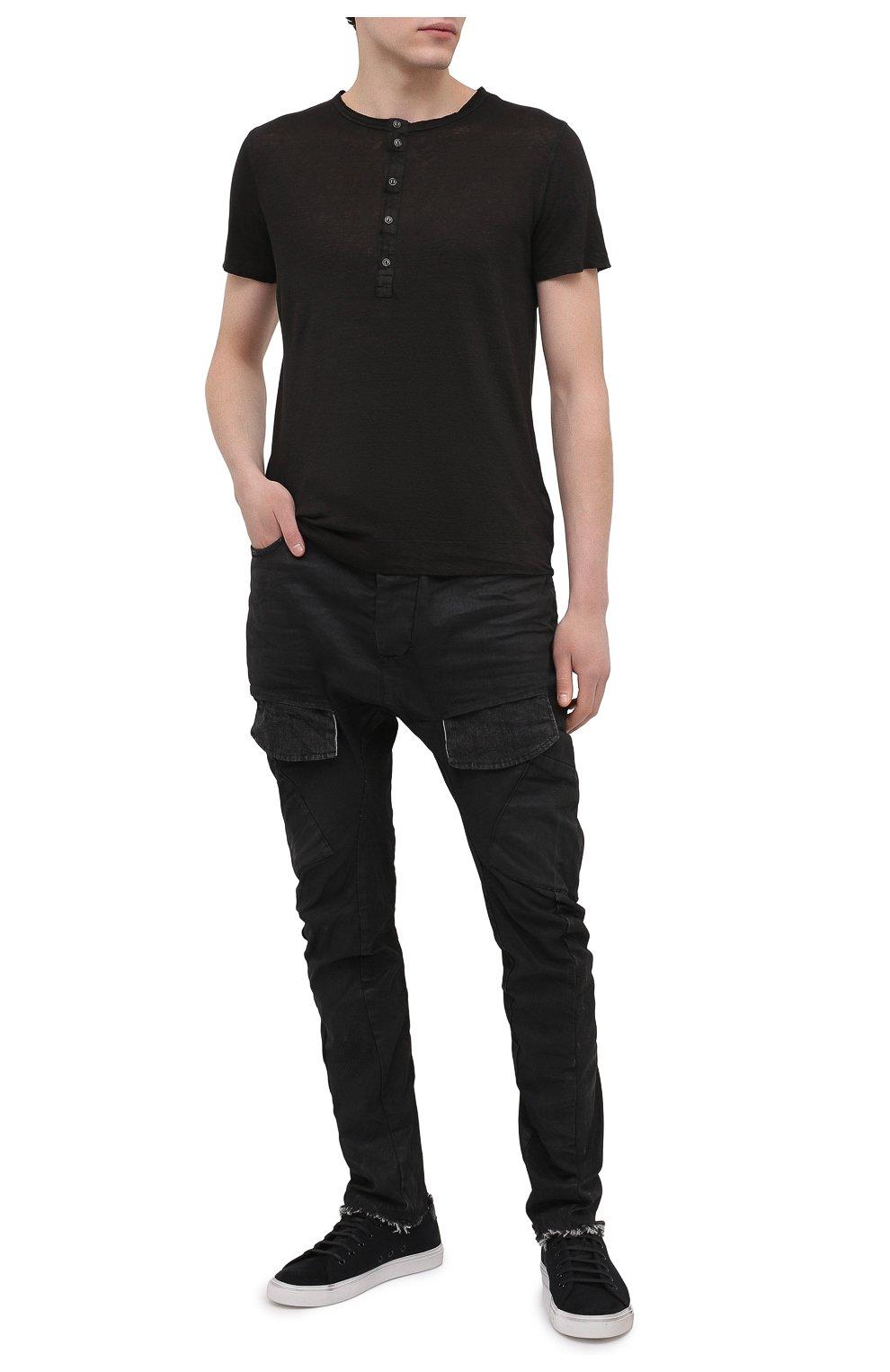 Мужская льняная футболка 120% LINO черного цвета, арт. T0M7672/E908/S00   Фото 2 (Принт: Без принта; Рукава: Короткие; Длина (для топов): Стандартные; Материал внешний: Лен; Стили: Кэжуэл)