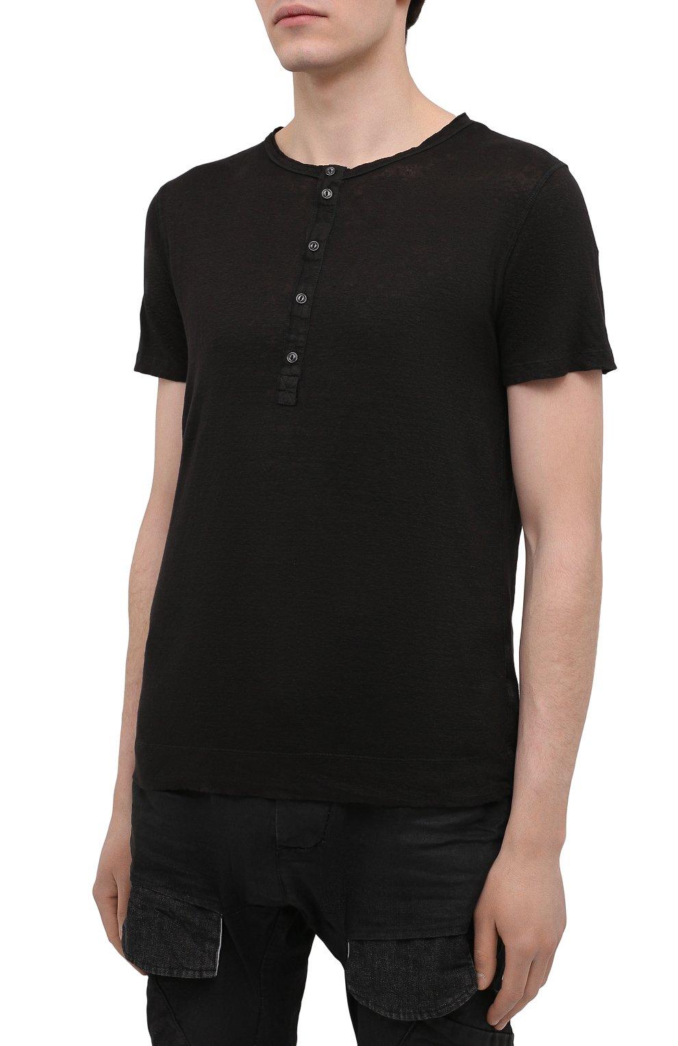 Мужская льняная футболка 120% LINO черного цвета, арт. T0M7672/E908/S00   Фото 3 (Принт: Без принта; Рукава: Короткие; Длина (для топов): Стандартные; Материал внешний: Лен; Стили: Кэжуэл)