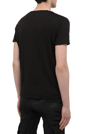 Мужская льняная футболка 120% LINO черного цвета, арт. T0M7672/E908/S00   Фото 4 (Принт: Без принта; Рукава: Короткие; Длина (для топов): Стандартные; Материал внешний: Лен; Стили: Кэжуэл)