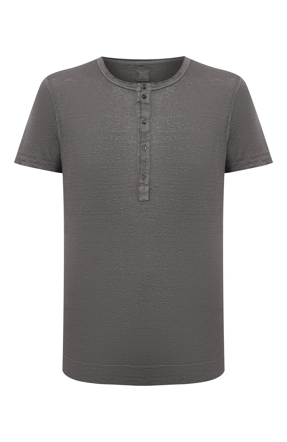 Мужская льняная футболка 120% LINO темно-серого цвета, арт. T0M7672/E908/S00 | Фото 1 (Принт: Без принта; Рукава: Короткие; Длина (для топов): Стандартные; Материал внешний: Лен; Стили: Кэжуэл)