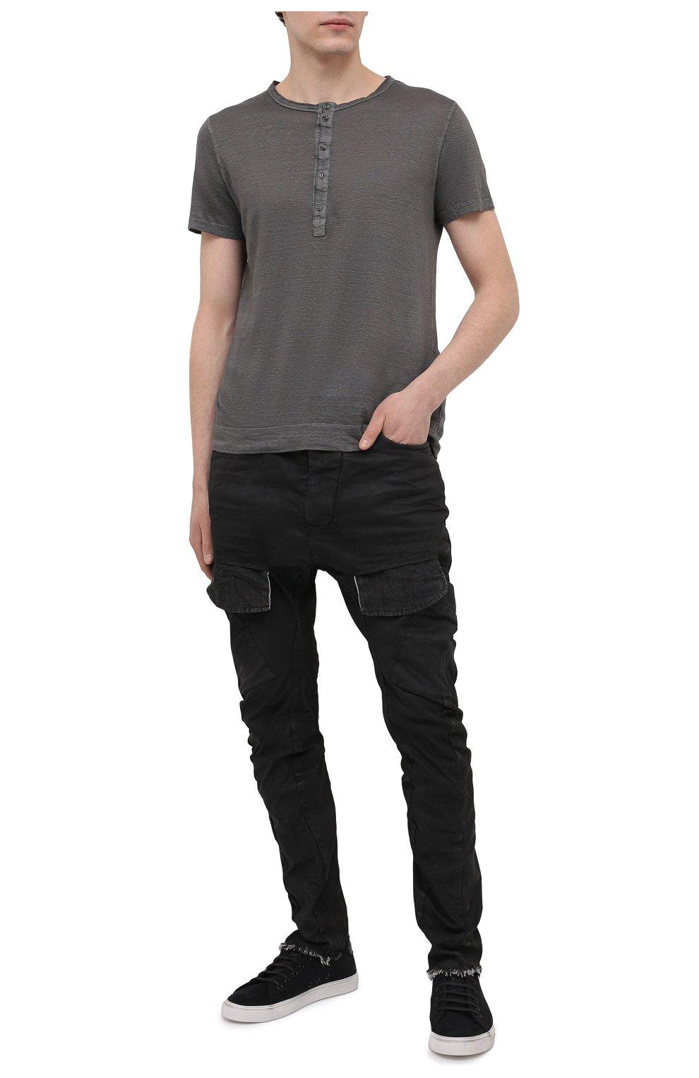 Мужская льняная футболка 120% LINO темно-серого цвета, арт. T0M7672/E908/S00 | Фото 2 (Принт: Без принта; Рукава: Короткие; Длина (для топов): Стандартные; Материал внешний: Лен; Стили: Кэжуэл)