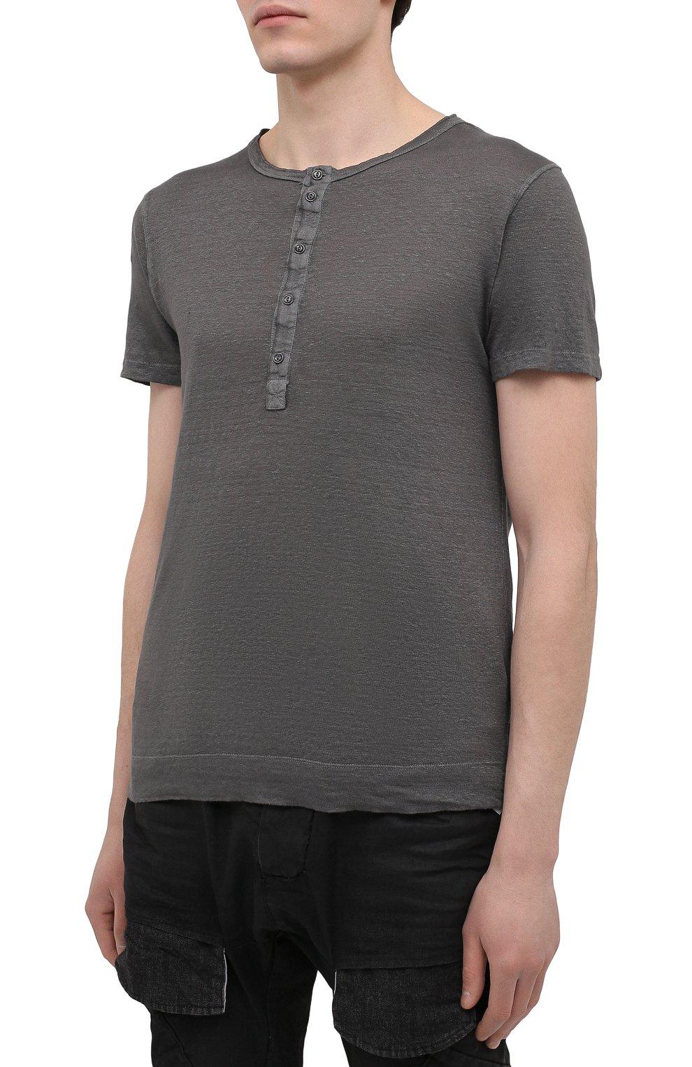 Мужская льняная футболка 120% LINO темно-серого цвета, арт. T0M7672/E908/S00 | Фото 3 (Принт: Без принта; Рукава: Короткие; Длина (для топов): Стандартные; Материал внешний: Лен; Стили: Кэжуэл)