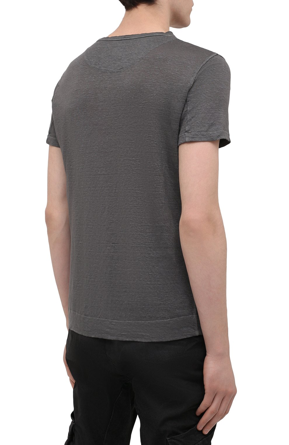 Мужская льняная футболка 120% LINO темно-серого цвета, арт. T0M7672/E908/S00 | Фото 4 (Принт: Без принта; Рукава: Короткие; Длина (для топов): Стандартные; Материал внешний: Лен; Стили: Кэжуэл)