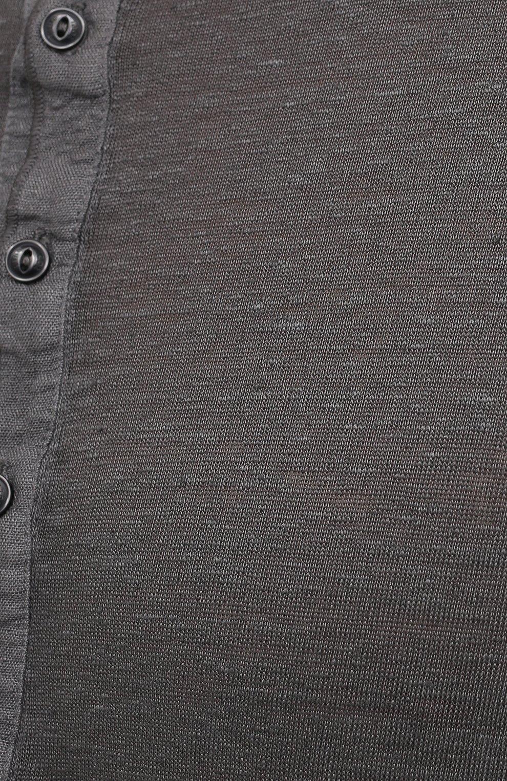 Мужская льняная футболка 120% LINO темно-серого цвета, арт. T0M7672/E908/S00 | Фото 5 (Принт: Без принта; Рукава: Короткие; Длина (для топов): Стандартные; Материал внешний: Лен; Стили: Кэжуэл)