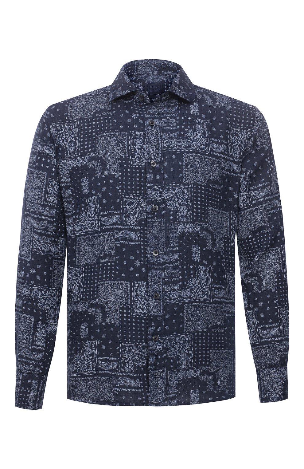 Мужская льняная рубашка 120% LINO темно-синего цвета, арт. T0M1311/F970/000 | Фото 1 (Манжеты: На пуговицах; Рукава: Длинные; Воротник: Акула; Случай: Повседневный; Длина (для топов): Стандартные; Принт: С принтом; Материал внешний: Лен; Мужское Кросс-КТ: Рубашка-одежда; Стили: Кэжуэл)