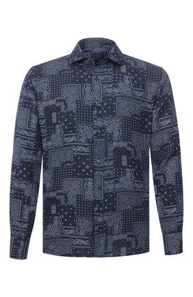 Мужская льняная рубашка 120% LINO темно-синего цвета, арт. T0M1311/F970/000 | Фото 1